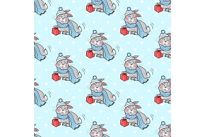 Little Rabbit with Present Box Seamless Pattern.