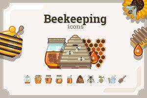 Beekeeping icons set (3 variants)