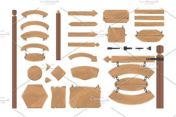 Cartoon Wood Banners Boards Isolated On White
