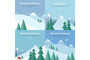 Mountains Landscape Banners Set. Mountaineering