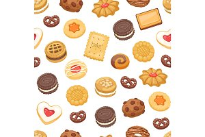Different cookie cake isolated vector seamless pattern
