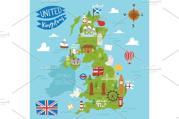 United kingdom great britain map travel city tourism transportation ...