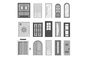 Doors isolated vector illustration entrance doorway home house interior exit design architecture entry set enter object front wooden handle close