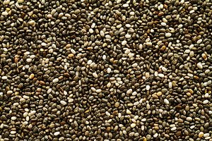 Chia seeds background. Top view.