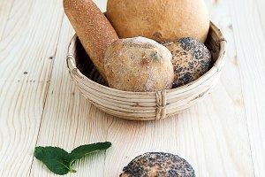 Seed bread on wooden board