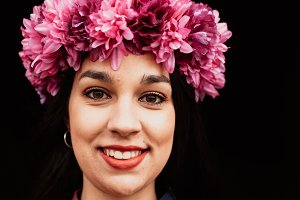 Pretty girl with a crown of flowers