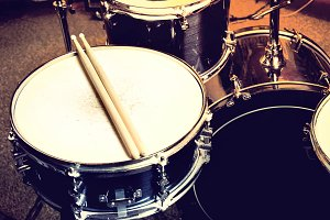 Drums with snare drum. Music concept