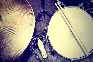 Drums and snare. Music concept.