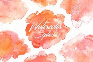 Peach Watercolor Splashes Clipart