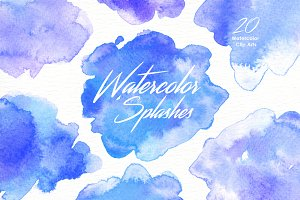 Blue Watercolor Splashes Clipart