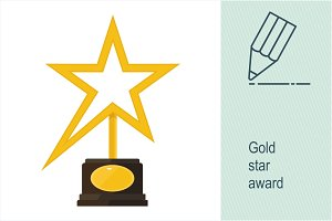Gold star award statuette