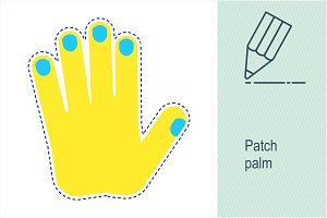 Patch gesture. Yellow palm.