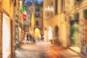 The streets of Italy in the evening