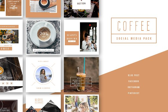 Coffee - Social Media Pack-Graphicriver中文最全的素材分享平台