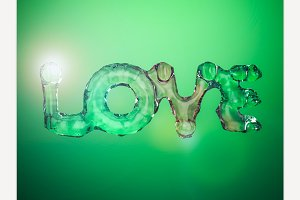 Liquid word LOVE