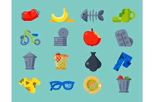Household waste garbage icons vector illustration trash recycling ecology environment isolated recycle concept plastic paper symbol can bin eco
