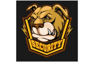 bulldog head mascot - security emblem.
