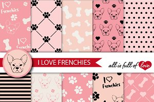 Frenchie digital paper in pink