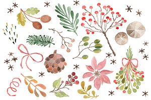 Christmas Watercolor Clip Art