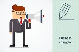 Business character. Megaphone