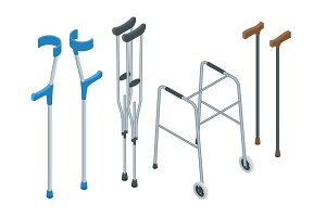 Isometric set of mobility aids including a wheelchair, walker, crutches, quad cane, and forearm crutches. Vector illustration. Health care concept.