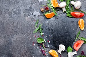 Fresh delicious ingredients for healthy cooking salad