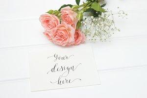 Mockup. Card. Roses. Love.