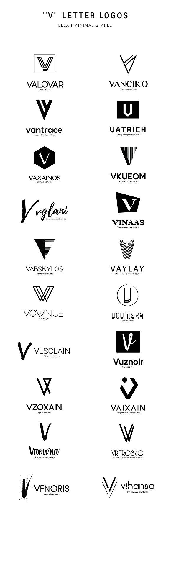 20 V Letter Alphabetic Logos Logo Templates Creative Market