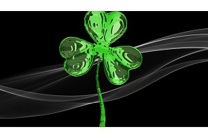 St. Patrick's Day 3d effect clover over white smoke background. Decorative greeting grungy or postcard. Simple banner for the site, shop, magazine promotions with place for text. 3d illustration