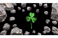 St. Patrick's Day 3d effect clover over space background and asteroid field. Decorative greeting postcard. Simple banner for the site, shop, magazine promotions. 3d illustration