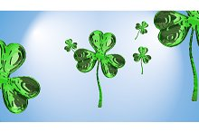 St. Patrick's Day 3d effect clover over space background. Decorative greeting grungy or postcard. Simple banner for the site, shop, magazine promotions with place for text. 3d illustration
