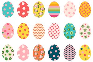 Colorful Easter eggs clip art set