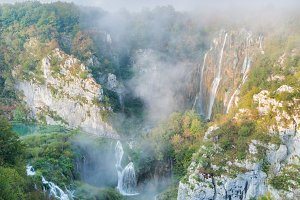 Plitvice waterfalls in the morning