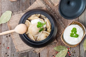 Meat Dumplings - russian pelmeni with sour cream