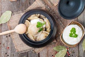 Meat Dumplings - russian pelmeni with sour cream