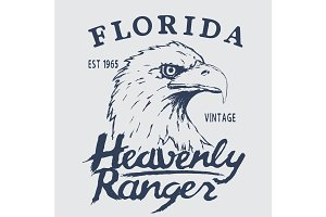 Vintage label with eagle head