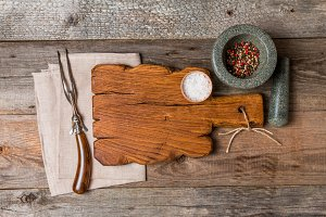 Cutting board, seasonings and meat fork