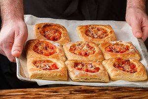 puff pies with tomato
