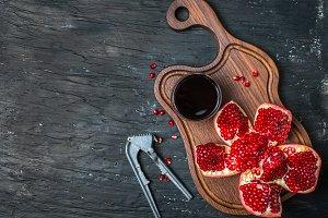 Ripe pomegranates with juice