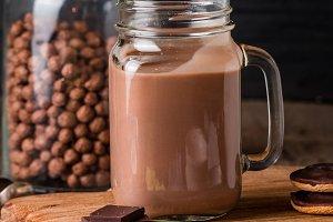 glass of chocolate milkshake for breakfast