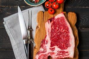 Raw fresh meat Club Steak