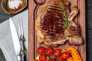 Club Beef steak with seasonings and Grilled vegetables