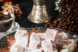 Cup of coffee with turkish delight