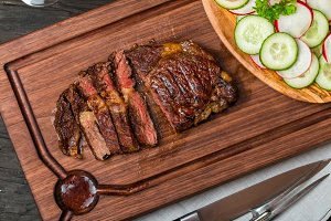 sliced medium rare grilled Beef steak Ribeye