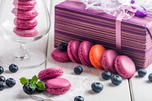 macaroon with fresh  blueberries