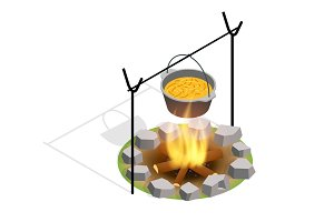 Isometric Bonfire Burning On Firewood In The Camp, Camping And Hiking Outdoor Tourism Related Item Isolated Vector Illustration