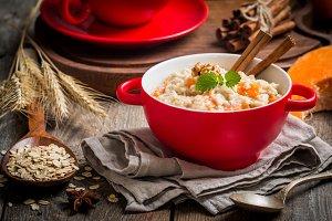 Breakfast oatmeal porridge with pumpkin