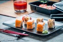 Set of salmon eel sushi rolls