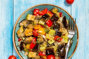 Vegetable ratatouille in a plate