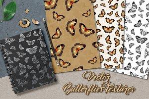 Butterflies Vector Seamless Textures